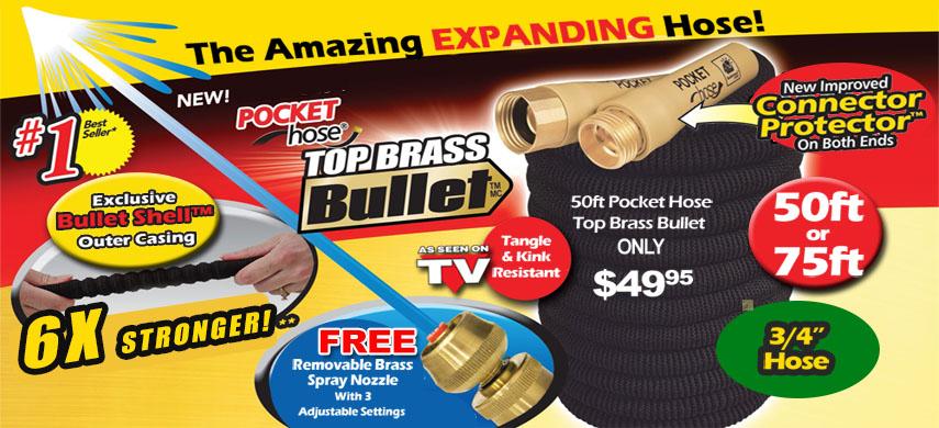 Get Pocket Hose Bullet Top Brass